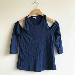 Splendid Cold Shoulder 3/4 Sleeve Navy Blue Top